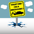 Trust me i am mechanic abstract colorful background with a plate on which is written the text a Stock Photography