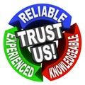 Důvěřovat nám kruh slova spolehlivý zkušený