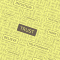 Trust word cloud illustration tag cloud concept collage Royalty Free Stock Photos