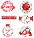 Trusted brand set of different red labels also in print colors Stock Photo