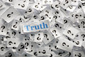 Truth on question marks on white papers hard light Royalty Free Stock Images