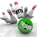 Truth vs myth bowling facts investigating busting untruth with a ball marked striking pins illustrating myths to symbolize Stock Images