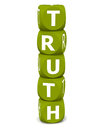 Truth word white background purity concept made up of stacked toy blocks Stock Photography
