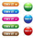 Try it buttons glossy collection of different colors Stock Photos