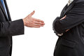 Try of handshaking between two work partners Royalty Free Stock Image