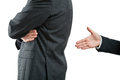 Try of saying sorry hand open to shake because quarrel between two businessmen Royalty Free Stock Photography