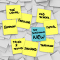 Try something new change normal usual routine shake it up the words on a different color sticky note from the other yellow notes Royalty Free Stock Image