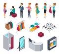 Trying Shop Isometric People Icon Set