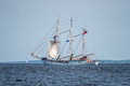 Trzebiez, Poland - August 08, 2017 - Sailing ship Zawisza Czarny sails to the full sea after final of Tall Ships Races 2017 in Ste