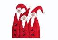 Trzy santa claus children obraz Fotografia Stock