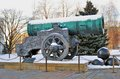 Tsar cannon king cannon in moscow kremlin in winter view of is a popular touristic landmark unesco world heritage Royalty Free Stock Photo