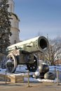 Tsar cannon king cannon in moscow kremlin in winter view of is a popular touristic landmark unesco world heritage Royalty Free Stock Images