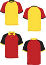 Tshirt polo-red yellow black-model sleeve. Royalty Free Stock Photo