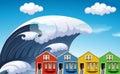Tsunami with big waves over houses