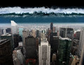 A tsunami comes out against the city of new york Royalty Free Stock Photo