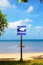 Tsunami evacuation route sign on a beach thailand Stock Photos