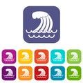 Tsunami wave icons set