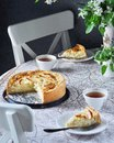 Tsvetaeva apple pie with curd cheese, Russian cheesecake with apples