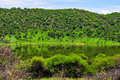 Tswaing meteorite crater reserve lake vegetation surrounding the in soshanguve sa km from Royalty Free Stock Image