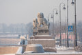Tsza chi chi za a pair of granite mythological guardian lion st petersburg russia february lions established during the descent to Stock Image
