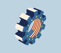 Ttip transatlantic trade and investment partnership europe usa association gear textured by flag Stock Images