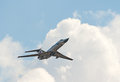 Tu-134UBK flies Royalty Free Stock Photo