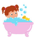 The tub colored illustration of a baby that is washed Stock Image