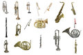 Tuba the image of wind instruments isolated under a white background Royalty Free Stock Images