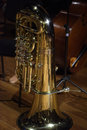 Tuba stand on back stage classical music Royalty Free Stock Photo