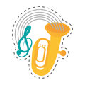tuba wind brass music instrument dotted line