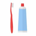 Tube of toothpaste and tooth brush in flat style on white background. Vector Royalty Free Stock Photo