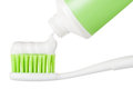 Tube of toothpaste and toothbrush Stock Image