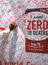 Tuberculosis awareness campaign people signing on the banner during on june in secunderabad ap ind ia Stock Image