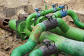 Tubing planned repairs of municipal a node with valves Stock Photos