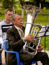 Tubist from brass band budyonnovsk stavropol region russia may municipal on the labor day celebration on st of may in budyonnovsk Royalty Free Stock Photos