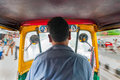 Tuc Tuc rickshaw taxi driver in New Delhi Royalty Free Stock Photo