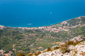 Tucepi in croatia town of view from biokovo mountains Royalty Free Stock Photos
