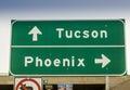 Tucson, Phoenix, Arizona highway road sign USA