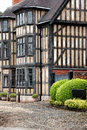 Tudor building a at the entrance to the castle in shrewsbury england uk showing wooden beams and leaded glass windows Royalty Free Stock Images
