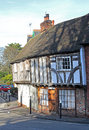 Tudor exposed beamed cottages photo of historic wooden in rural village of herne in kent england Royalty Free Stock Photography