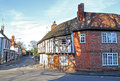 Tudor exposed beamed cottages photo of old historic in the peaceful rural village of herne in kent Stock Photography