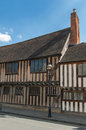 Tudor house old classic building in stratford england Royalty Free Stock Photos