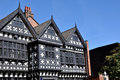 Tudor manor house traditional period timber framed black and white in stockport england Stock Photo
