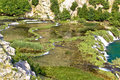 Tufa cascades of krupa river amazing green landscape in croatia Stock Photography