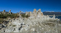 Tufa formation in mono lake california state natural reserve with snow covered sierra mountains the background Stock Photo