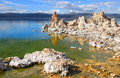 Tufa formations by the shore of mono lake in california Stock Image