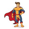 Tuft superhero is standing proudly wearing cape Stock Images