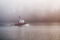 Tug Boat on a foggy day Royalty Free Stock Photo