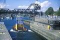 Tug boat going through Hiram M. Chittenden Locks on Puget Sound, Seattle, WA Royalty Free Stock Photo