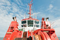 Tug boat red tugboat on a baltic sea in gdansk poland Stock Photos